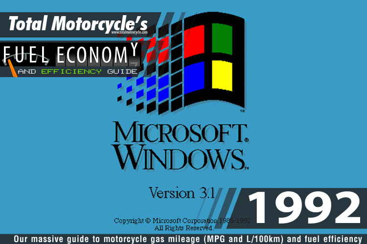 1992 Motorcycle Model Fuel Economy Guide in MPG and L/100km