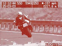 Caught on film. 157mh/h on a Kawasaki ZX-11 in the UK