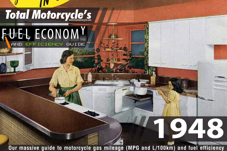 1948 Motorcycle Model Fuel Economy Guide in MPG and L/100km