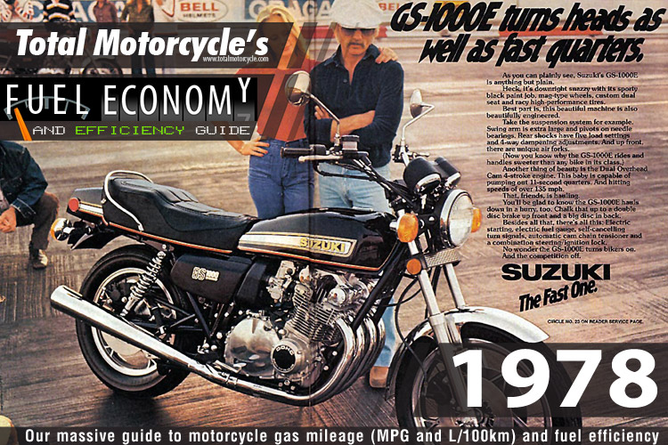 1978 Motorcycle MPG Fuel Economy Guide