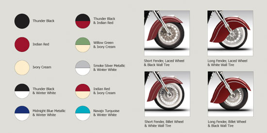 2009 Indian Chief Color and Wheel Options