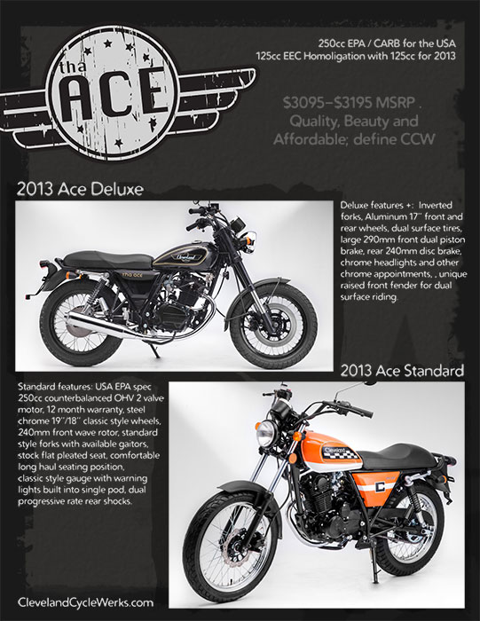 2013 Cleveland CycleWerks Ace Standard