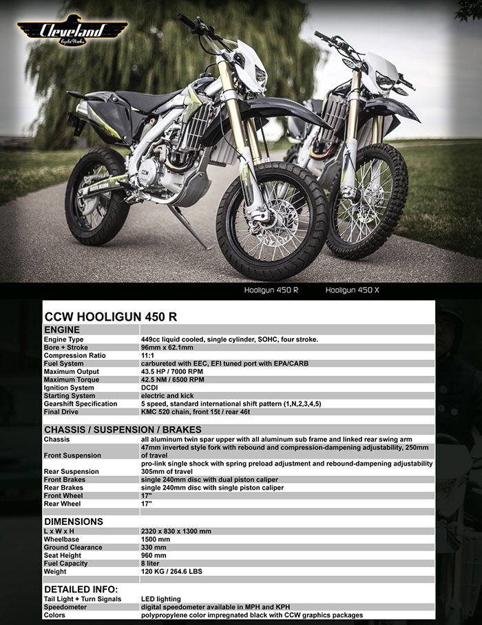 2016 Cleveland CycleWerks Hooligan X 450 Specifications