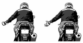 Turn Signal On - Open and close left hand with fingers and thumb extended.