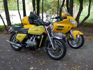 The 1976 Honda Goldwing GL1000 and 2001 Honda Goldwing GL1800A. www.webbrilliandt.com