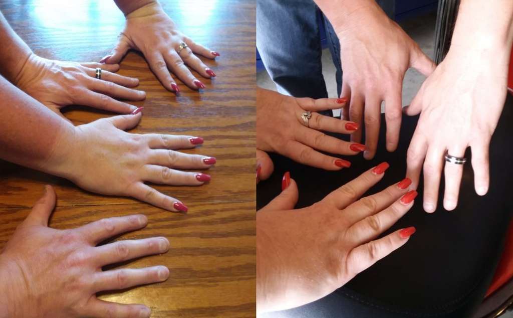 Indian Women's Review, Two side by side pictures show two sets of hands displayed, male and female, both with wedding rings and the woman's hands are well manicured with red nails. Both sets of hands appear to be very clean in both pictures. The arms in first picture appear to be more tan than the arms in the second.