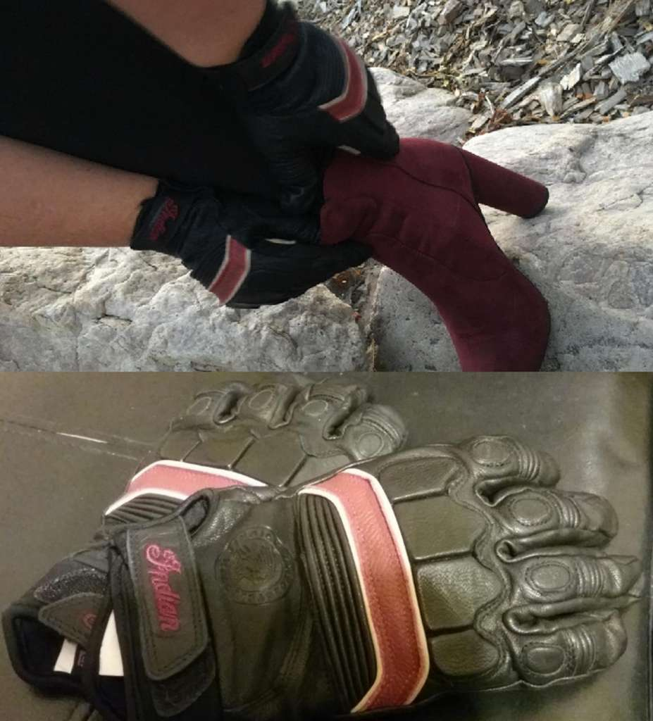 Indian Women's Review, A Women pulls up her red leather high heeled boots wearing a pair of black leather gloves with red and white stripes. Pictured Below is a pair of the same gloves on display.
