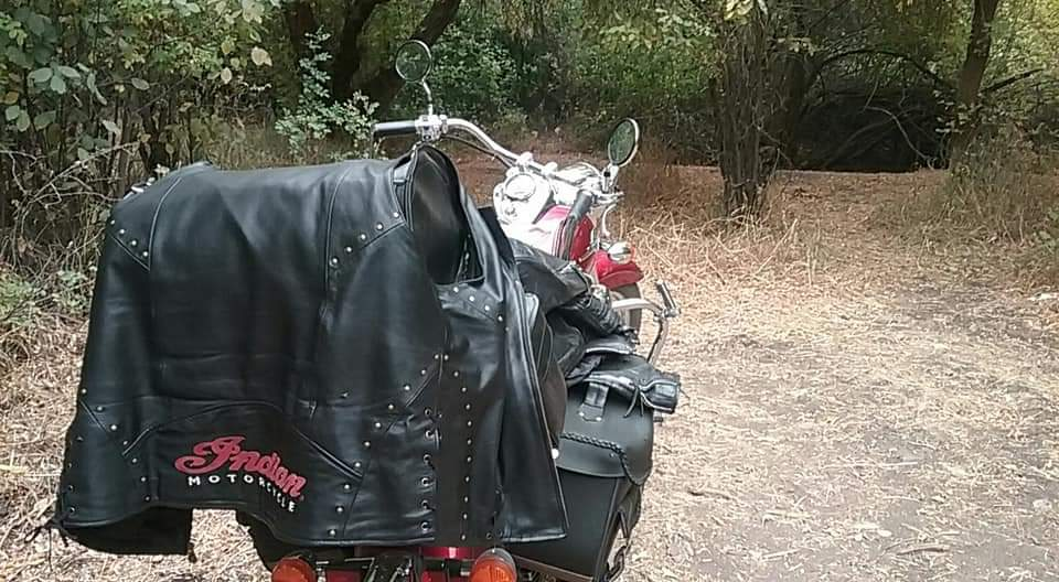 A Shiny red and chrome cruiser motorcycle is parked in a clearing in a forest. It is precisely loaded with black leather luggage.