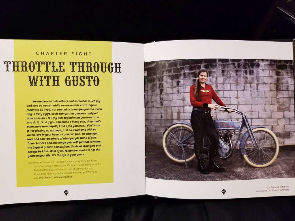 Page 143, Cris Commer next to her vintage motorcycle.