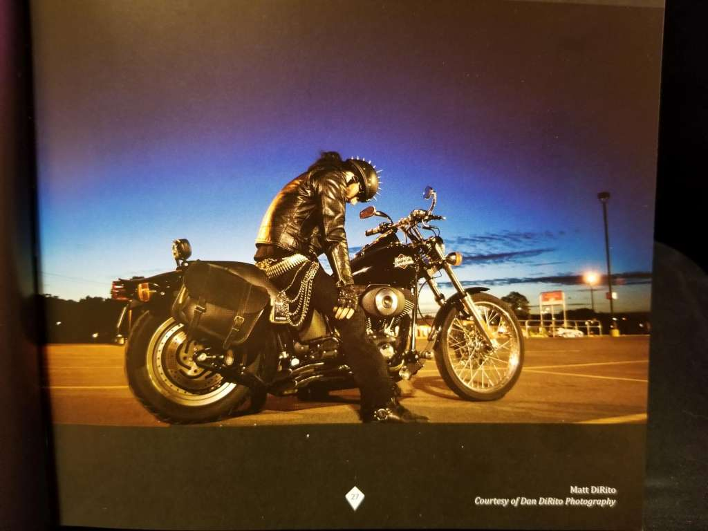 Matt DiRito pictures on his motorcycle, page 27.