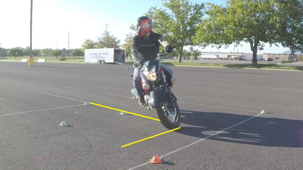 A rider leans his bike into a right-hand turn with clear counterweighting posture, facing the camera. Yellow highlight lines describe the width of the turn, as long as the bike.