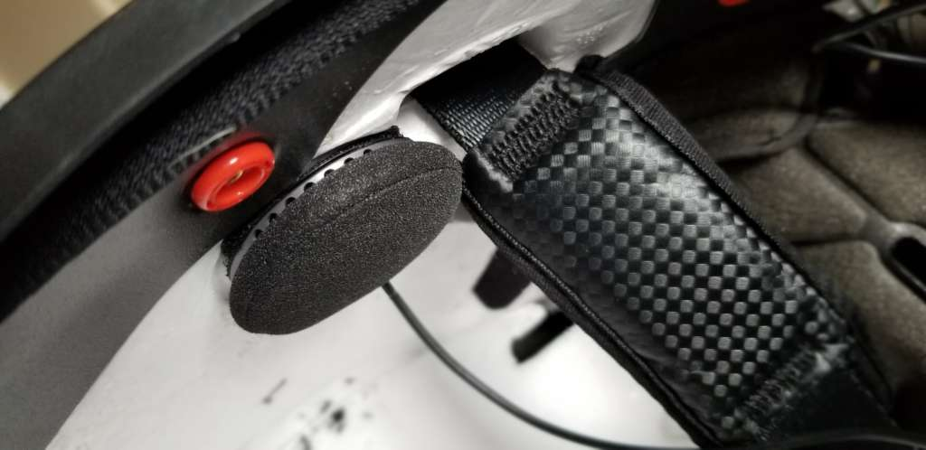 Pictures is the inside of a helmet with the right channel XSound 3 speaker attached in the ear space.
