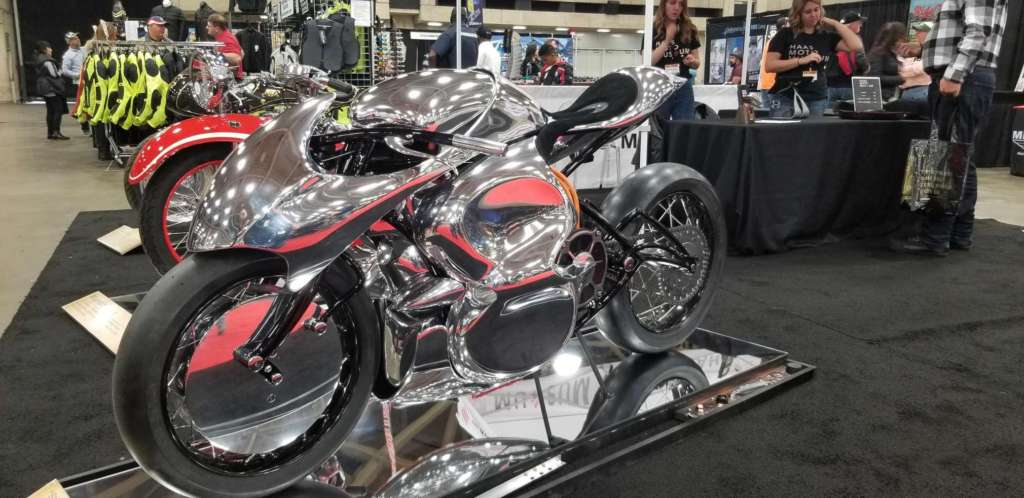 A highly custom bike is pictures, with body panels plated in chrome.