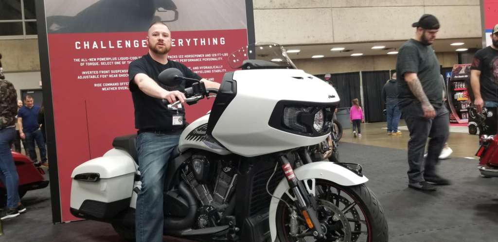 Eric astride the imposing 2020 Indian Challenger.