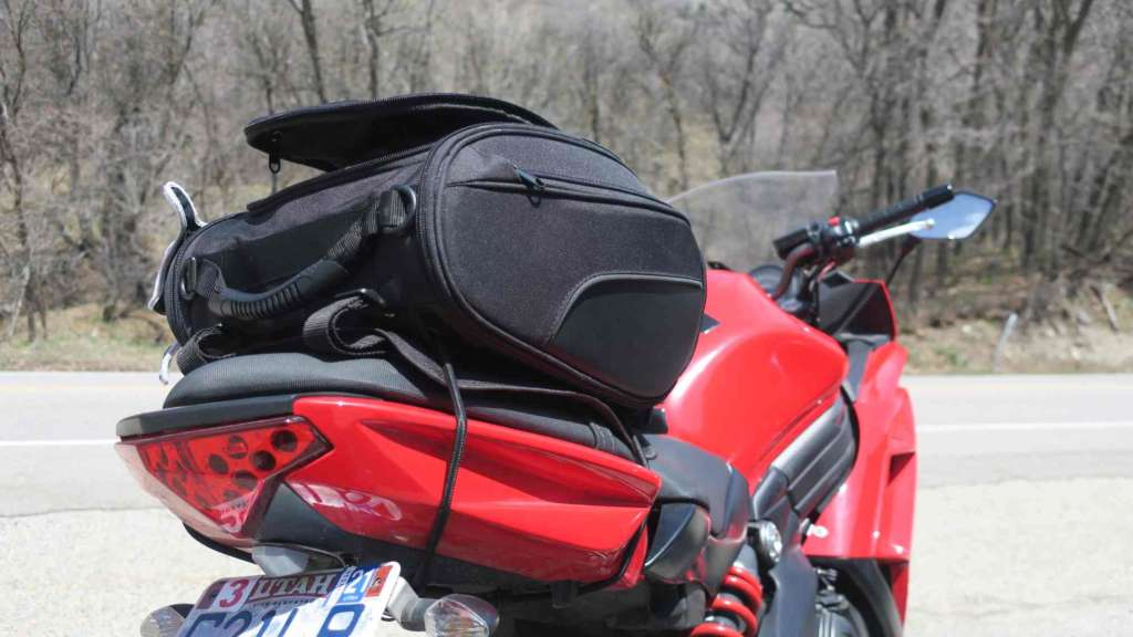 Full-frame image of the Viking Sport Tail Bag mounted to the pillion of a 2012 Kawasaki Ninja 650.