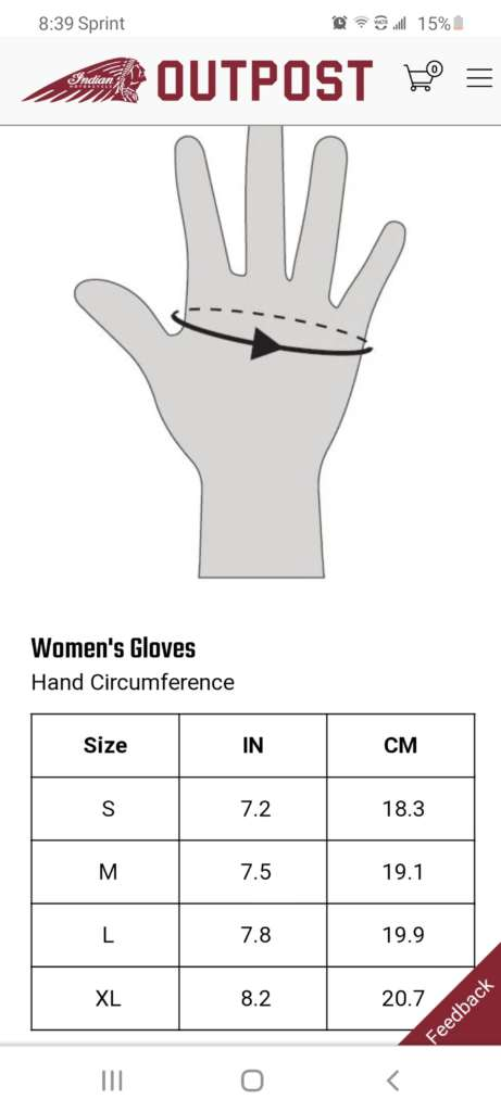 Glove sizing chart by Indian Motorcycle.