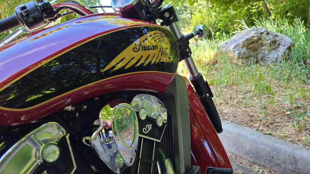 Right-side quarter closeup of the Indian Scout